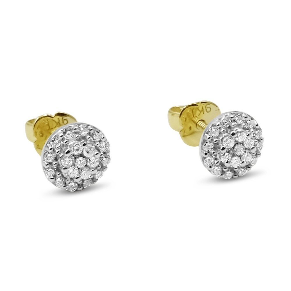 Diamond Cluster Round Studs Earrings