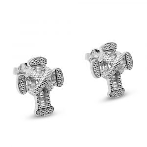 White Gold Cross Studs Earrings CZ 9ct
