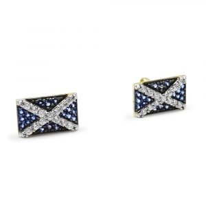 Scottish Flag Earrings 9ct Gold