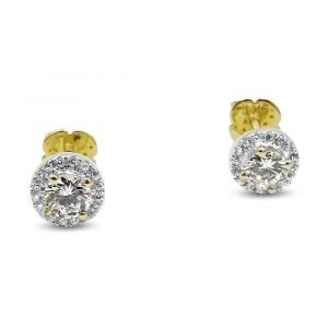 Halo Earrings Gold CZ 9ct