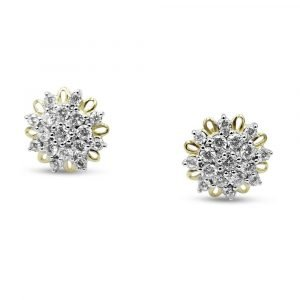 9ct Gold Cluster Earrings CZ Large