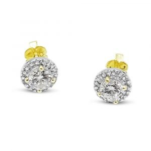 9ct Gold Halo Cubic Zirconia Earrings