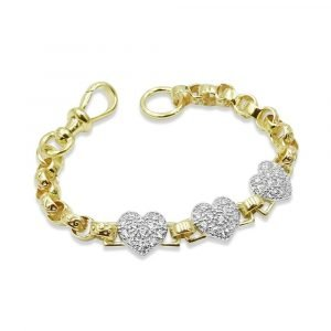 Gold Heart Bracelet 9ct Childs 14cm