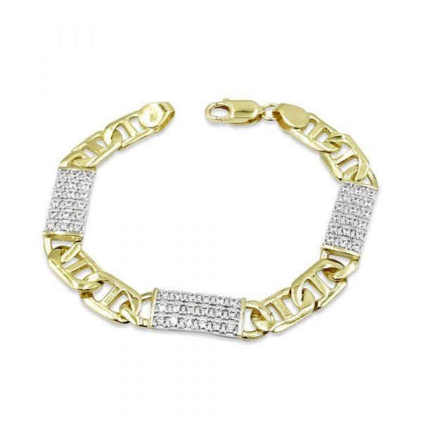 9ct Gold Anchor Bracelet Cubic Zirconia 7.25inch
