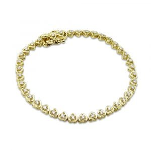 Heart Tennis Bracelet Girls 14cm 9ct Gold