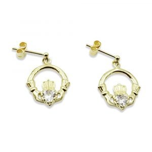 Claddagh Drop Gold Studs