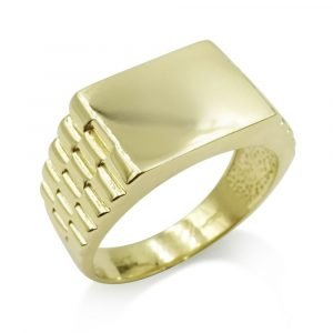 9ct Gold Signet Ring Men's Rectangle