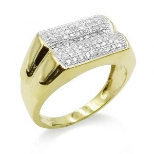 Gold Mens Cluster Pinky Ring 9ct