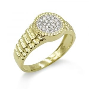 9ct Gold Jubilee Ring CZ Mens