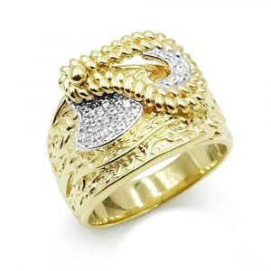 Heavy 9ct Gold Saddle Ring Cubic Zirconia