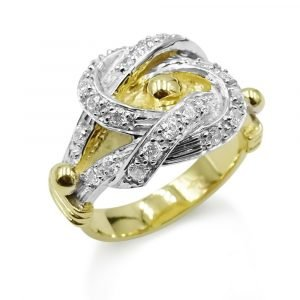Gold Love Knot Ring Mens CZ