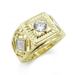 9ct Mens Gold Ring Rapstar Cubic Zirconia