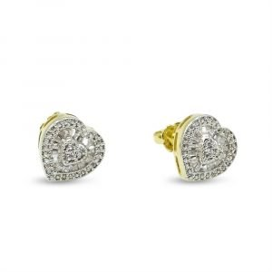 Heart Shaped Gold Earrings 9ct CZ