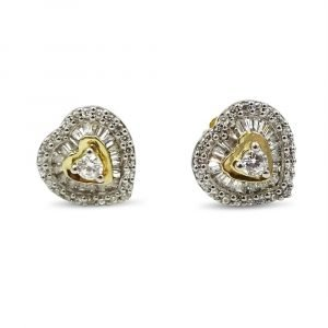 Gold Heart Shaped Earrings 9ct CZ