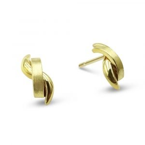 Gold Satin Polished Earrings Studs 9ct