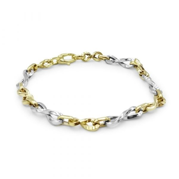 Two Colour 9ct Bracelet Gold Infinity