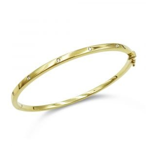 9ct Gold Diamond Bangle For Ladies