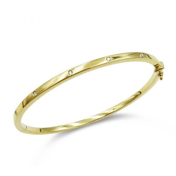 9ct Gold Diamond Bangle For Ladies