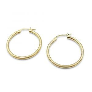 Plain Gold Tube Hoops Earrings 9ct