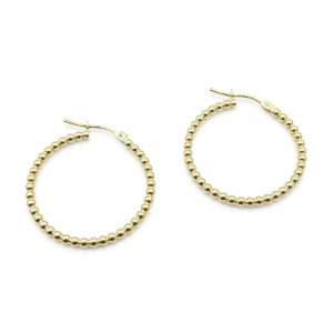 New Bead Hoop Earrings 9ct Gold