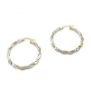 Yellow White Gold Hoops 9ct Gold