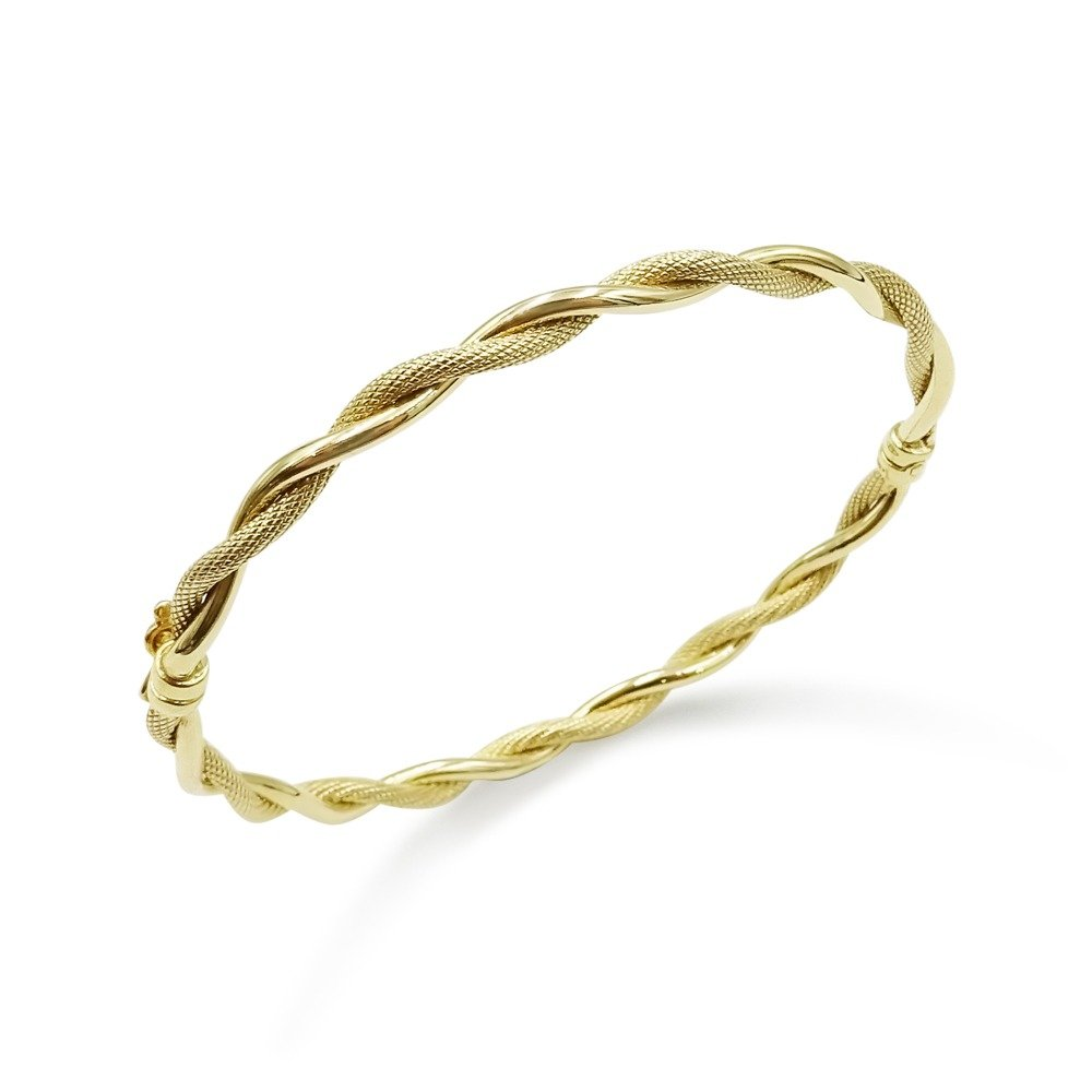 Patterned Twist Gold Bangle 9ct