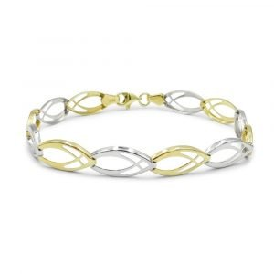 Two Colour 9ct Gold Bracelet Light Weight