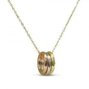 Three Colour Rings Necklace Fancy 9ct