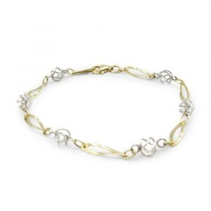 9ct Two-Colour Twist Bracelet 7 Inch Gold