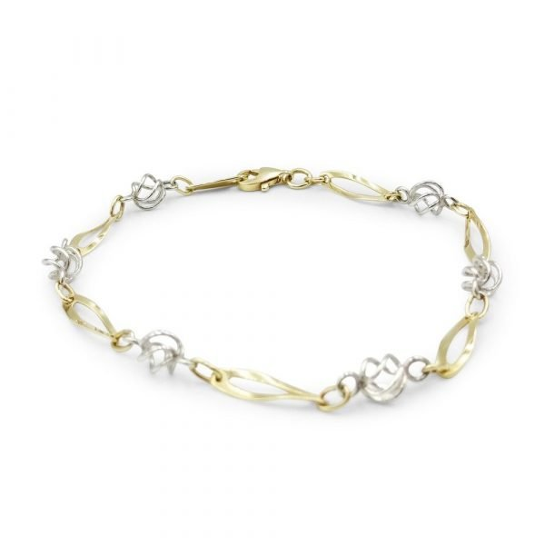 9ct Two-Colour Twist Bracelet 7 Inch