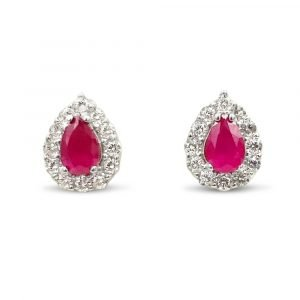 Synthetic Ruby Gold Earrings Pear Shaped