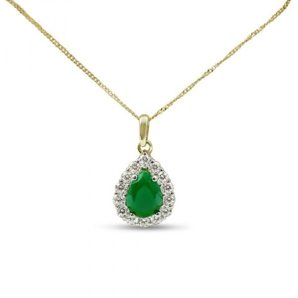 Synthetic Emerald Gold Pendant 9ct