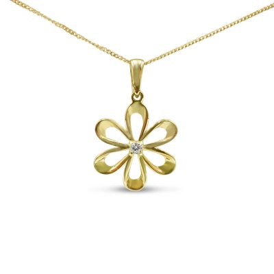 9ct Gold Flower Pendant For Ladies