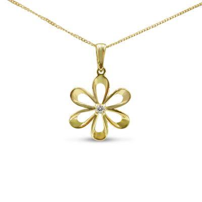 9ct Gold Flower Pendant For Ladies