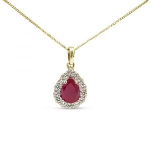 Synthetic Ruby 9ct Pendant Gold