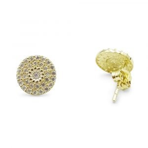 Round Cluster Stud Earrings 9ct Gold