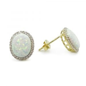 Created Opal Earrings 9ct Gold