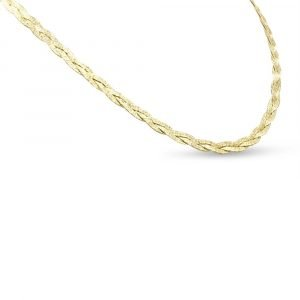 Plait Necklace Sterling Silver Gold Plated