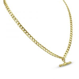 9ct Gold T-Bar Necklace Pre-Owned