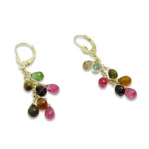 14ct Multi Colour Gemstone Earrings