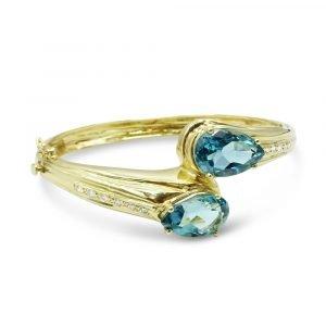 14kt Blue Topaz Diamond Gold Bangle