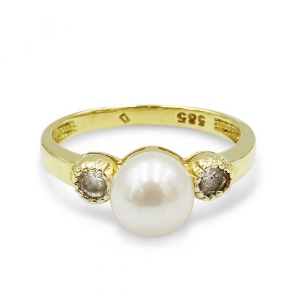 14k Pearl CZ Ring Gold