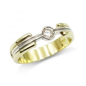 18ct Two Colour Diamond Ring 0.15ct