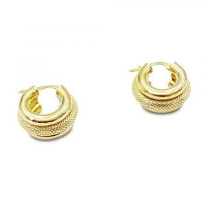 9ct Gold Wide Creole Earrings Small