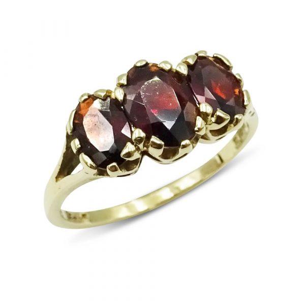 Gold Garnet Ring Three Stone