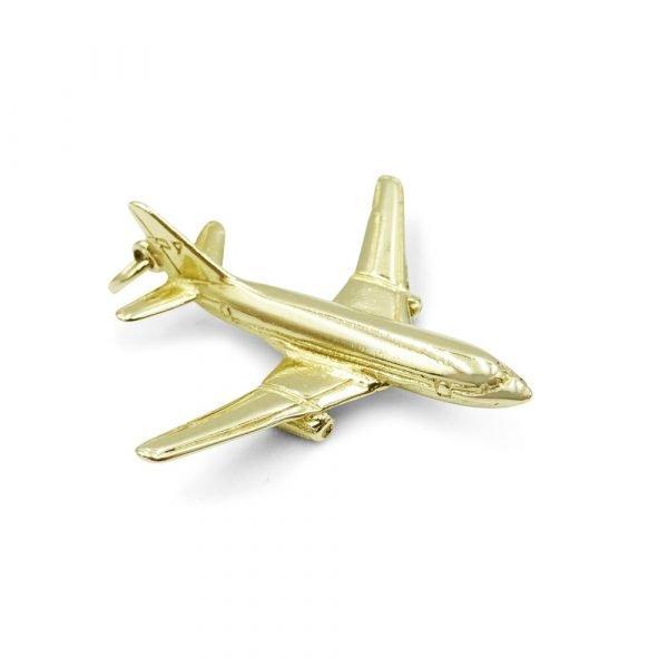 Solid Gold Aeroplane Pendant