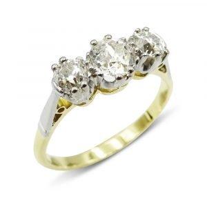 Old Cut Diamond Trilogy Gold Ring 1.1ct