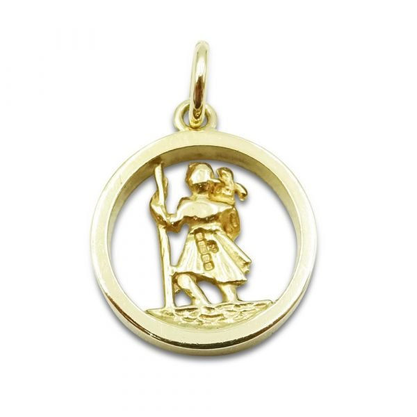 Gold Saint Christopher Pendant Small