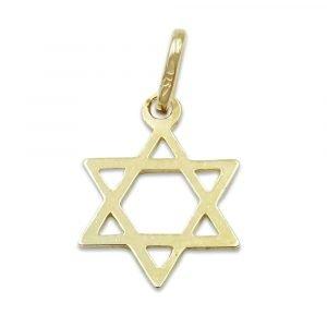 Gold Star of David Pendant Small