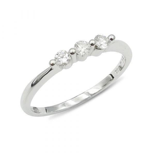 18ct White Gold Three Diamond Ring